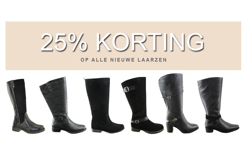 25% korting op alle nieuwe laarzen brede schacht