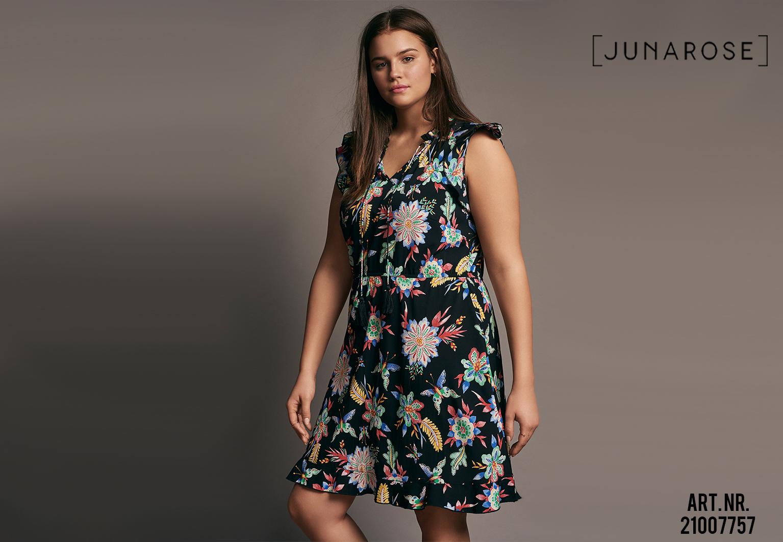 Grote maten bloemprint jurk Junarose
